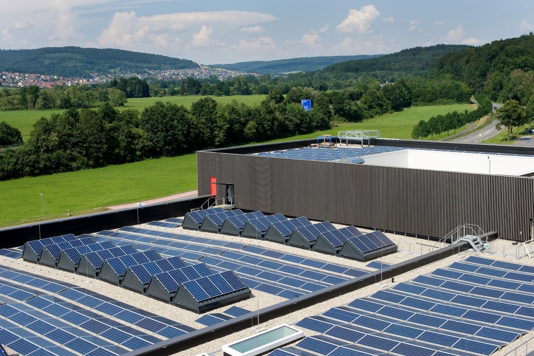 Photovoltaic panels on flat roof
