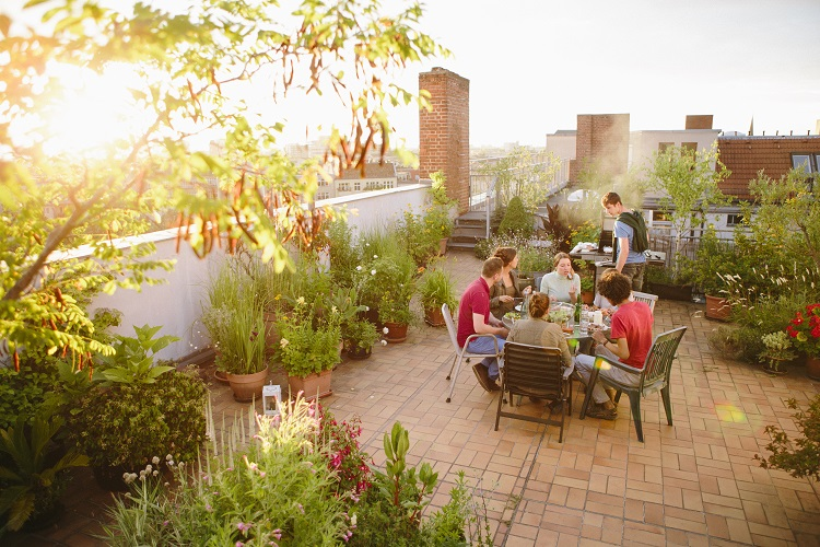 Brand image of people enjoying roof space