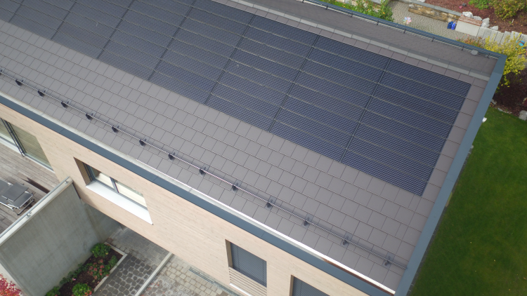 In-board PV panels on a pitched roof