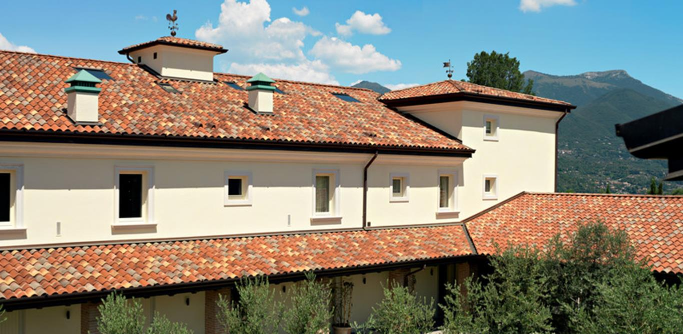 Traditional building with clay tiled roof