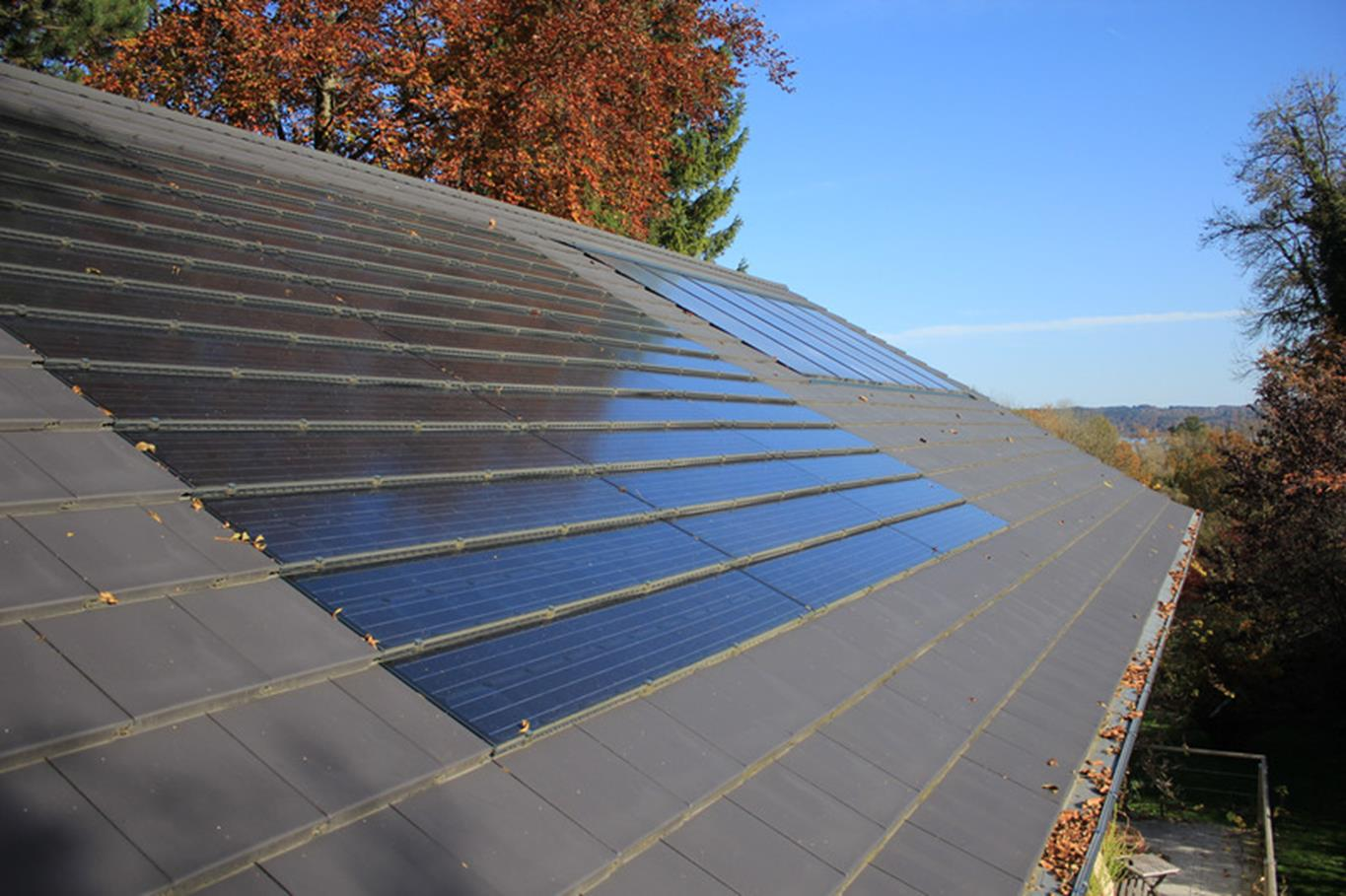 Pitched roof with solar in line panels