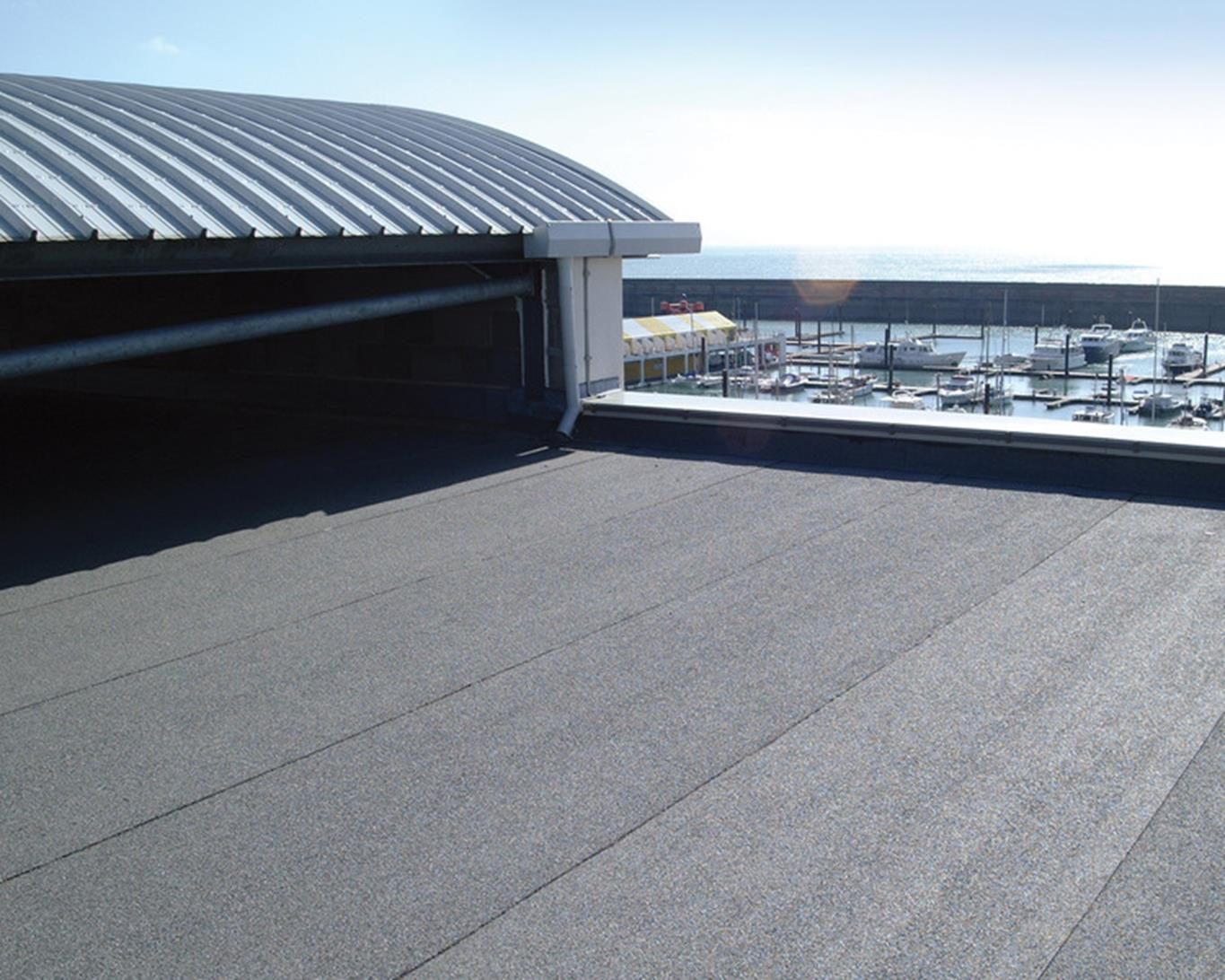 Flat roof on a sunny day