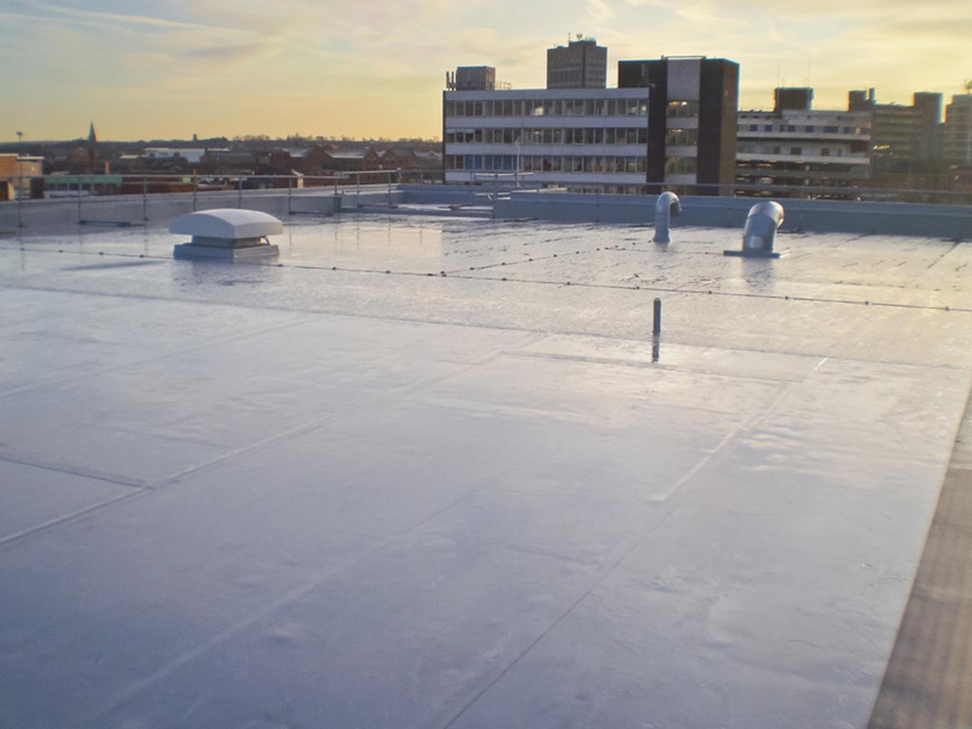 Aerial shot of a synthetic roof system